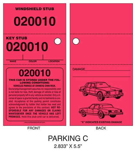 printable valet tickets buy parking ticket c