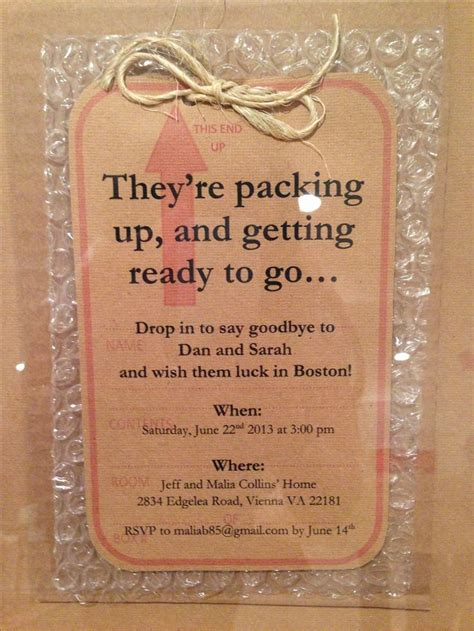 going away party invitation on bubble wrap books worth