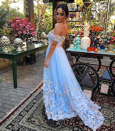 Elegant Lace Embroidery Off The Shoulder Tulle Long Prom Dresses 2018 ? alinanova
