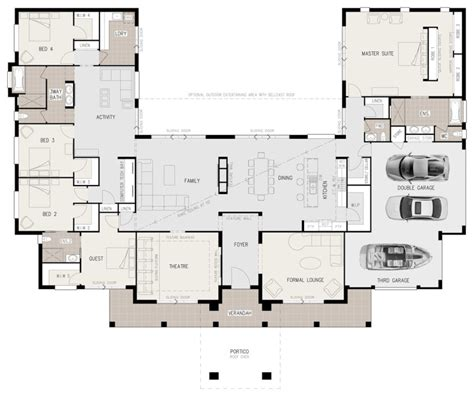 5 bedroom open floor plans floor plan friday u shaped 5 bedroom family home