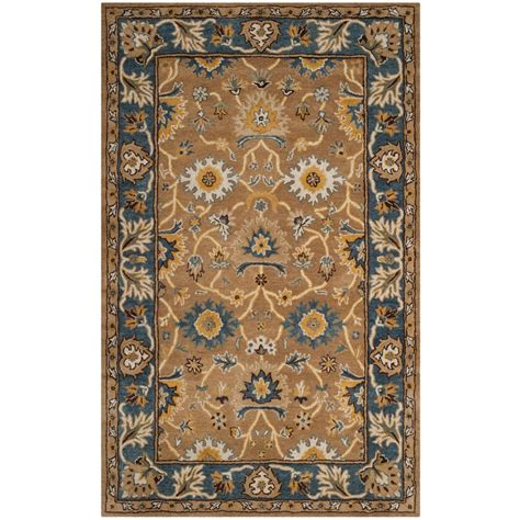 5 ft area rugs safavieh heritage camel blue 5 ft x 8 ft area rug hg652a 5 the home depot