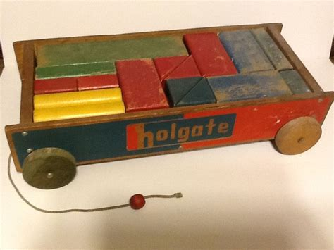 Hiasan Vintage Photo Blocks Antique vintage holgate block set with wagon 23 blocks of different colors ebay