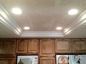 Fluorescent Lights For Kitchen Remove Fluorescent Lights Replace With Can Lights And Crown Moulding Remodel Kitchen