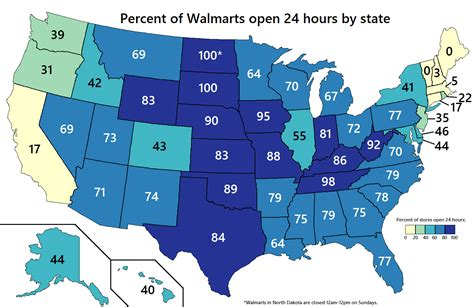 percent of walmart stores open 24 hours by u s state