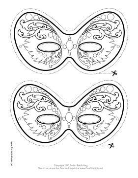 printable ornate mardi gras mask to color mask