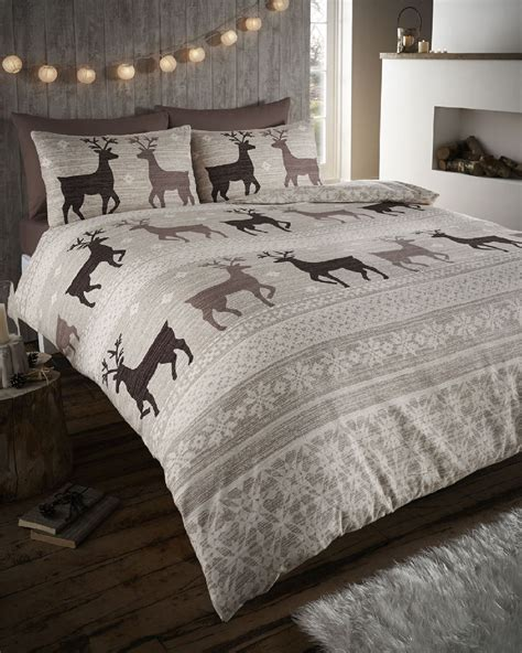 winter bedding stag deer winter christmas duvet quilt cover bedding set ebay