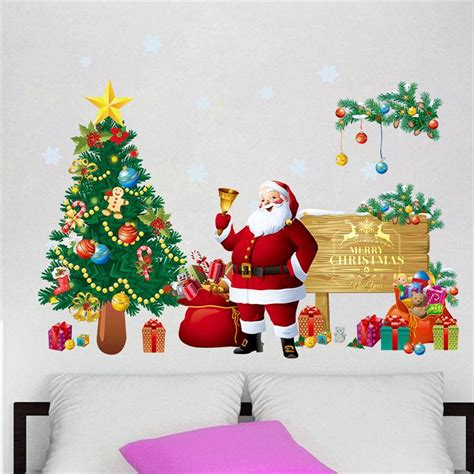 santa ckaus with snow decoration aliexpress buy decoration glass window stickers santa claus gifts snow tree