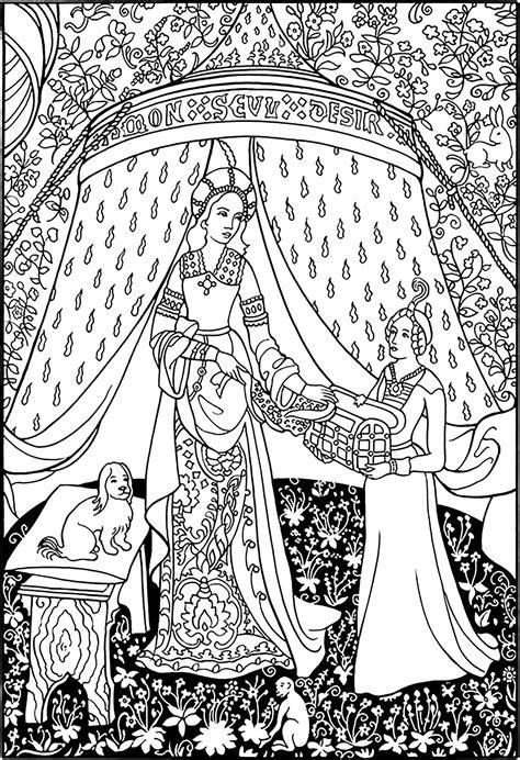 La Dame à La Licorne Tapisserie by Tapisserie La Dame 224 La Licorne Moyen 194 Ge Coloriages