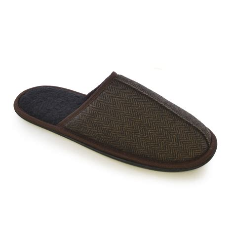 indoor slippers for mens herringbone fleece tweed mule slip on slippers