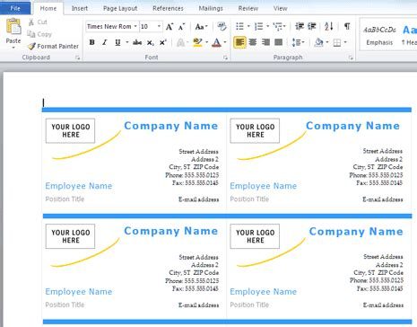 how to make business cards in word 2007 how to make business cards with microsoft word 187 software