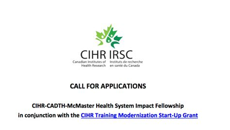Mcmaster Mba Health by Cihr Cadth Mcmaster Health System Impact Fellowship 2017