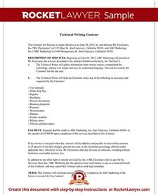 Technical Write Up Template by Technical Writing Contract Agreement Form With Sle