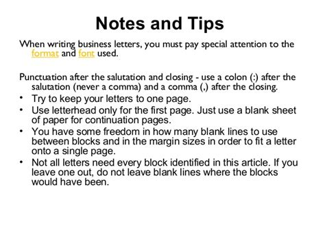 Business Letter Font formation of business letter