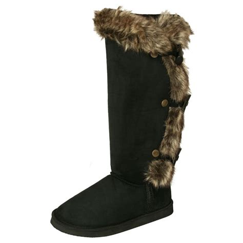 womens black fur knee high flat winter boots from spylovebuy uk