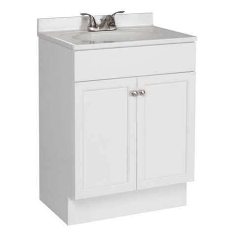 Shop Project Source White Integrated Single Sink Bathroom 24 In Bathroom Vanity With Sink