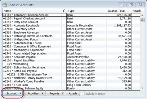 quickbooks chart of accounts template gallery quickbooks chart of accounts