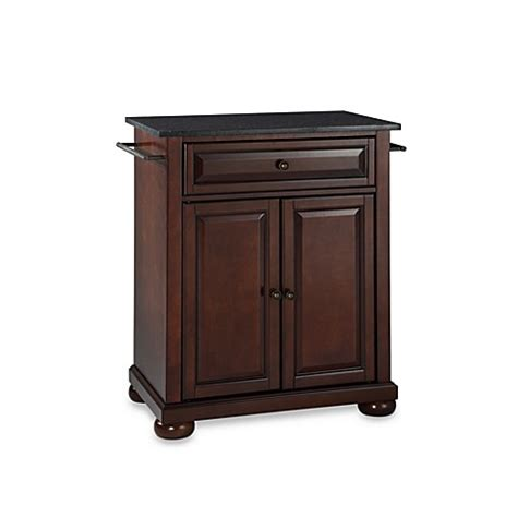 crosley alexandria kitchen island buy crosley alexandria black granite top portable kitchen island in mahogany from bed bath beyond