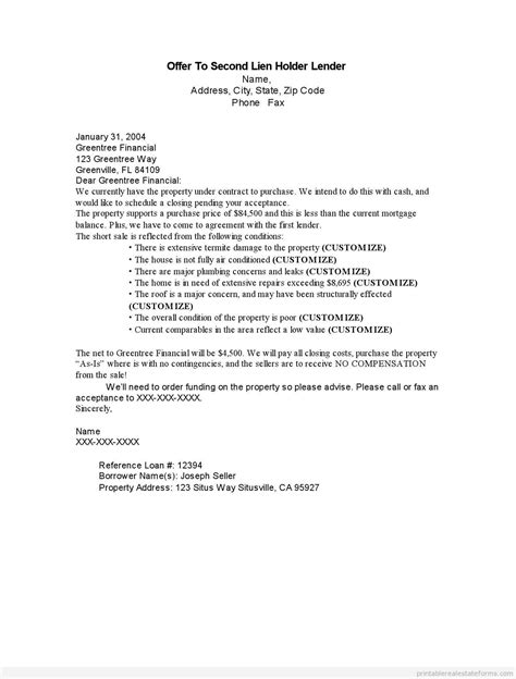 Offer Letter Lender Sle Printable Offer To Second Lien Holder Lender Form Printable Real Estate Forms 2014