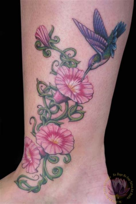 morning glory tattoo hummingbird and pink morning glories