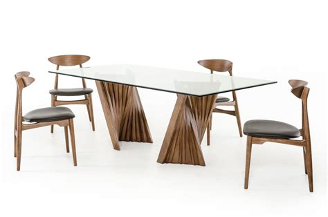 modern glass dining table modrest corbin modern walnut glass dining table modern