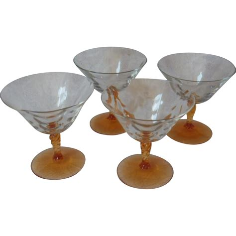 vintage cocktail set vintage set of four fostoria elegant depression glass