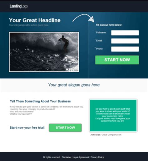 landing page template the reader
