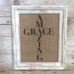 burlap amazing grace sign art print cross vintage