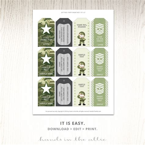 printable army name tags tags for army party favors printable labels and dog tags