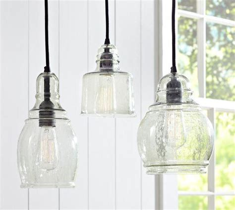 pottery barn kitchen lighting mouth blown glass single pendants