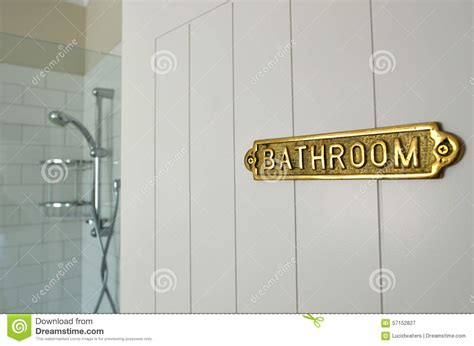 bathroom signs for the home bathroom sign on a home bathroom door stock image image