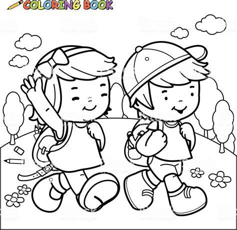 clipart bambini a scuola libro da colorare per bambini a scuola a piedi
