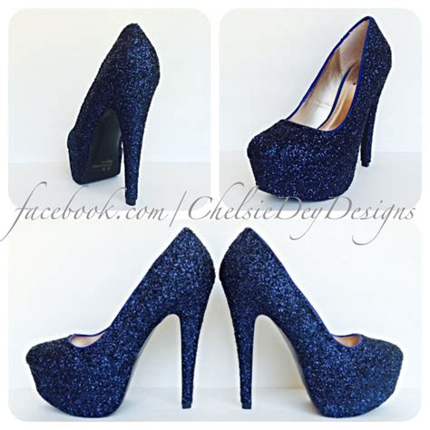 Navy Blue Bridal Heels by Navy Blue High Heels Glitter High Heel Closed Toe Pumps