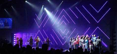 led stage lighting for churches open geometry church stage design ideas