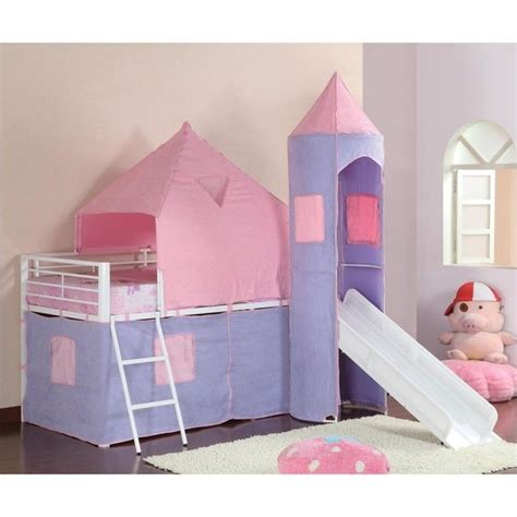 Coaster Bunks Twin Loft Bed Tent Pink Purple Ebay Pink Bunk Beds For