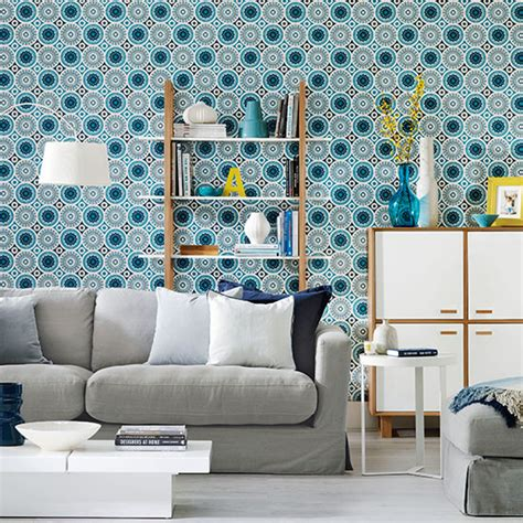 patterned wallpaper for living rooms living room with patterned wallpaper living room decorating ideal home
