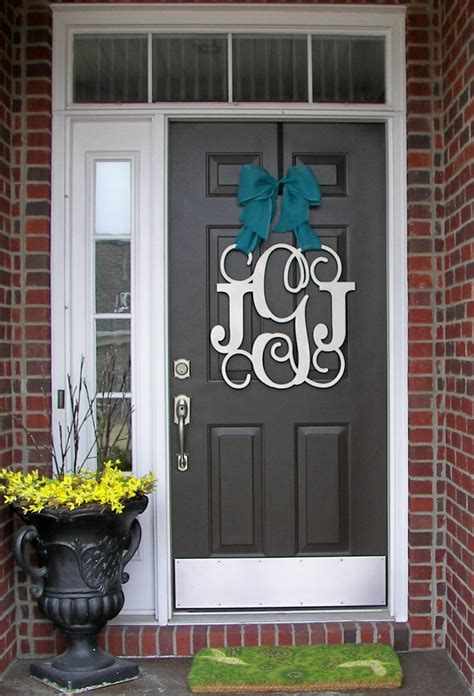 Custom Monogram Door Hanger Burlap Bow House Warming Front Front Door Hanging