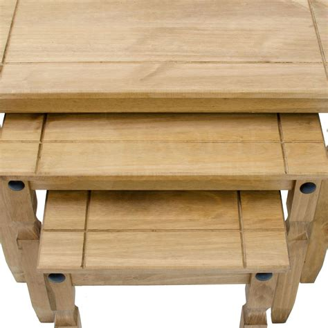 Corona Nest Of 3 Tables Mexican Solid Waxed Pine Living Mexican Pine Living Room Furniture