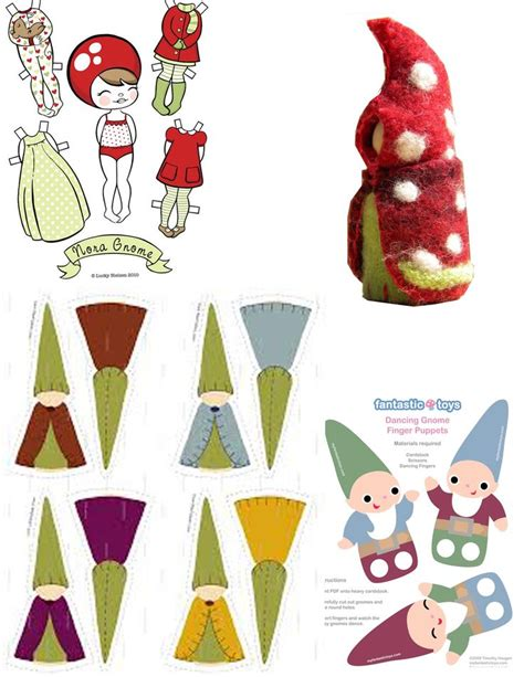 printable paper gnomes gnome paper dolls cut out printable templates vintage