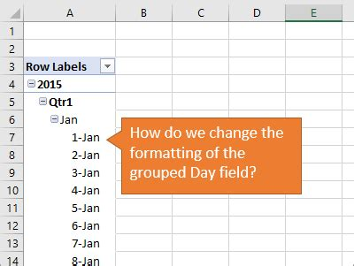 dates in pivot table how to change date formatting for grouped pivot table