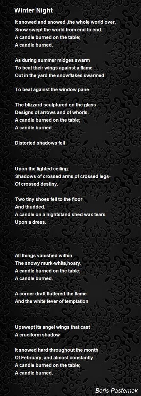 winter night poem by boris pasternak poem hunter