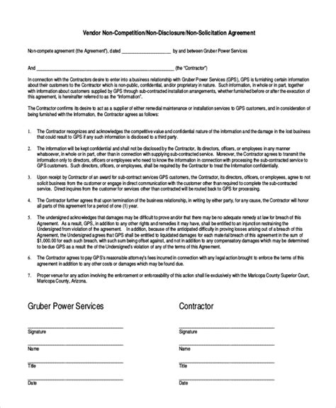 business templates noncompete agreement 9 contractor non compete agreement templates free