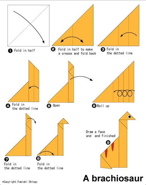 easy origami brachiosaurus free origami patterns