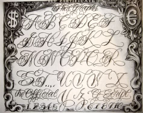 tattoo cursive letters gangster drawings flash by boog