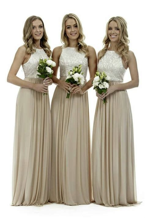 Elegant High Neck Champagne Long Bridesmaid Dresses Lace