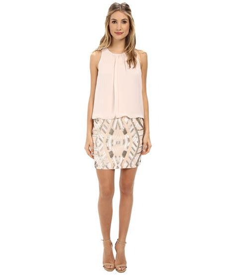 beaded blouson dress aidan mattox halter blouson dress w beaded skirt in pink