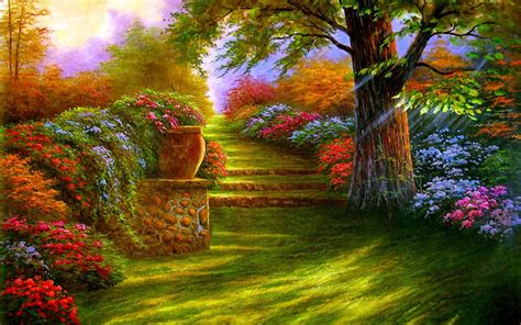 1920x1200 flower garden garden magic garden road