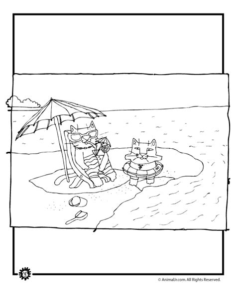beach cats coloring page animal jr
