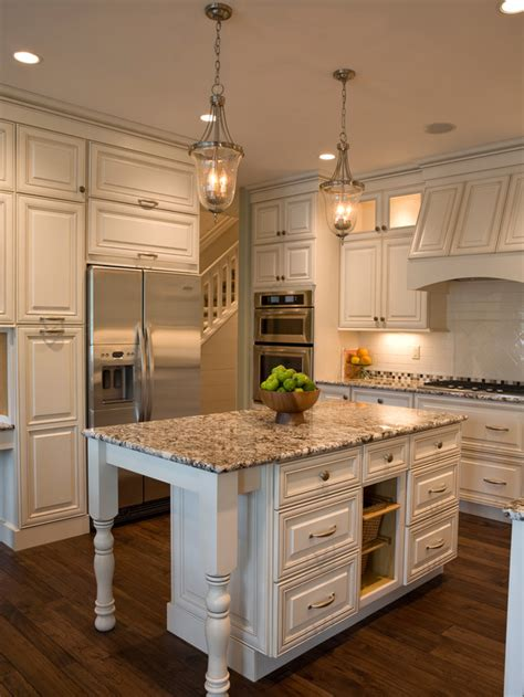 cottage style kitchen islands cottage white and granite kitchen with island hgtv