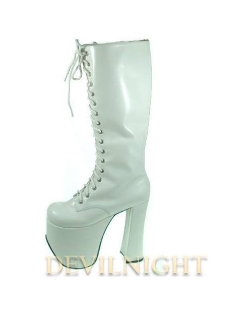 white black high heel boots with high