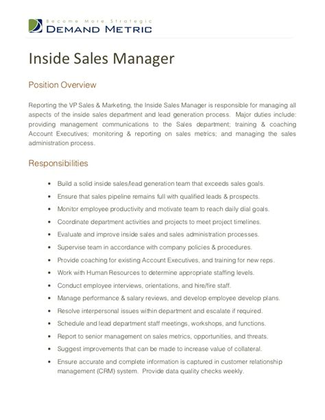inside sales manager description